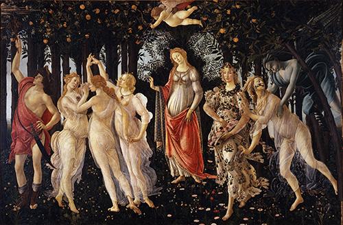 Alegoria de la primavera. obras de Botticelli
