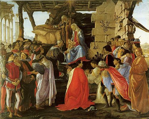 Adoracion de los magos de Botticelli.