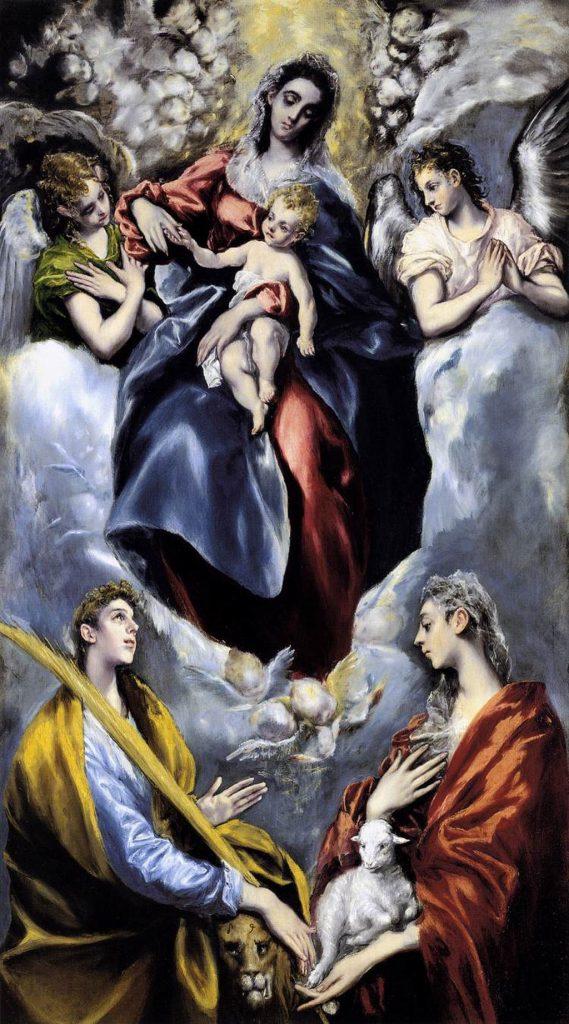 Virgen con el niño con Santa Martina y Santa Inés-- el greco
